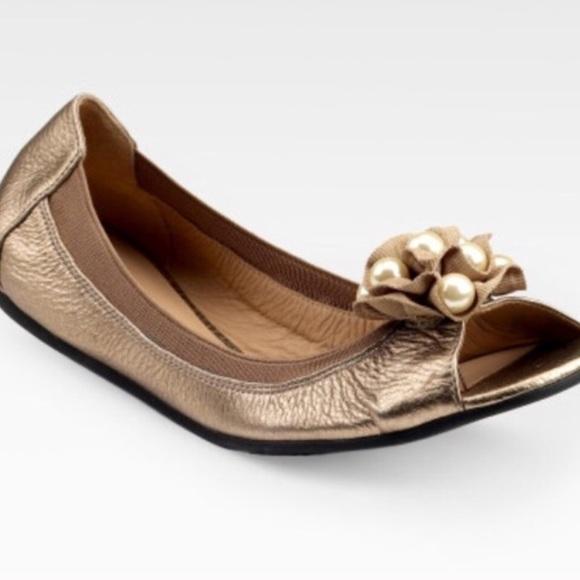 61ce00fc839d Kate Spade Champagne Bindi Beaded Peep Toe Flat